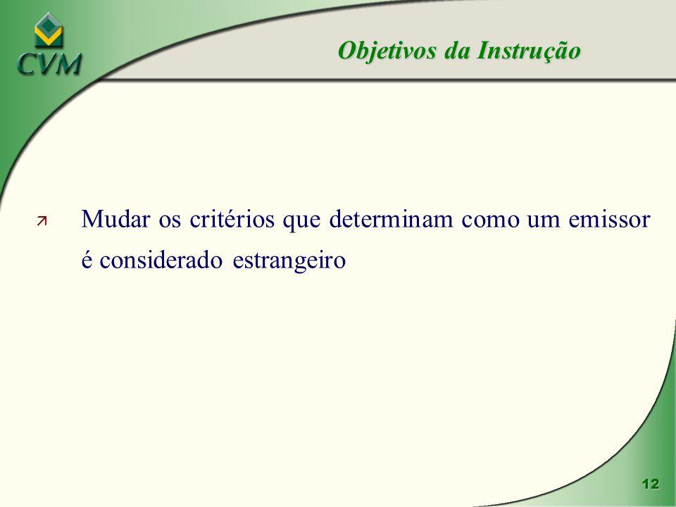 12 ä Mudar os critérios que determinam como um emissor é considerado estrangeiro Objetivos da Instrução