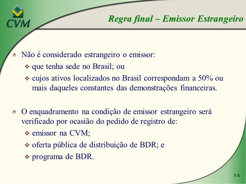 14 ä Não é considerado estrangeiro o emissor: v que tenha sede no Brasil; ou v cujos ativos localizados no Brasil correspondam a 50% ou mais daqueles constantes das demonstrações financeiras.
