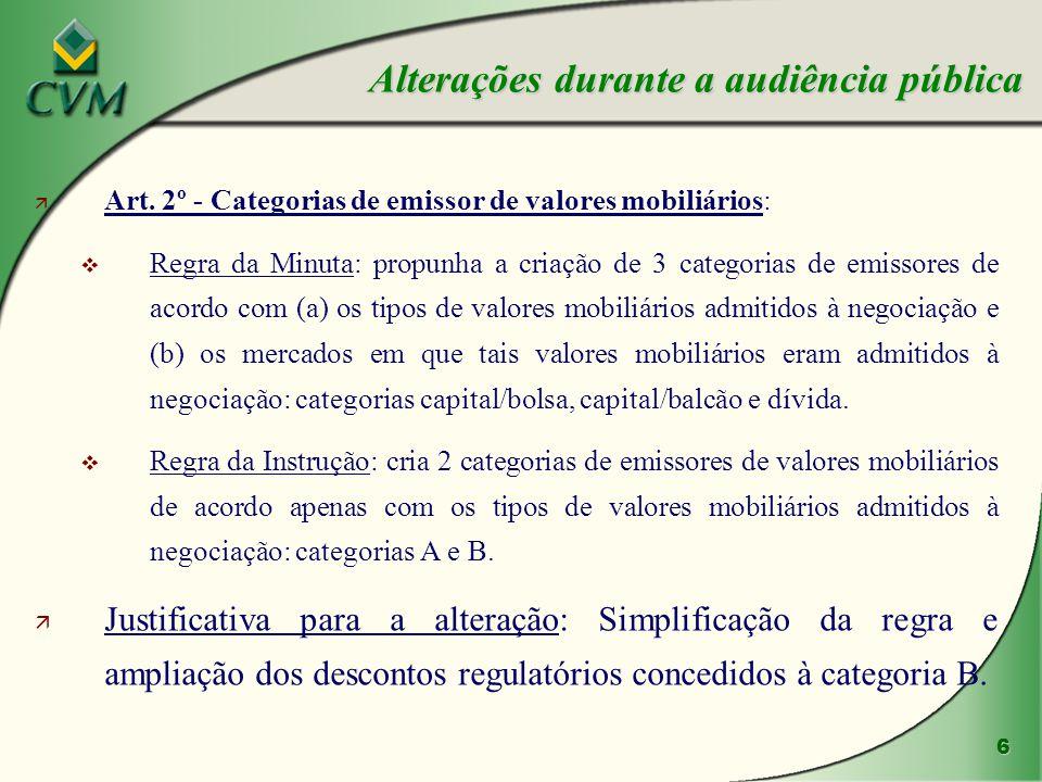 7 ä Categoria A - autoriza a negociação de quaisquer valores mobiliários em mercados regulamentados de valores mobiliários.