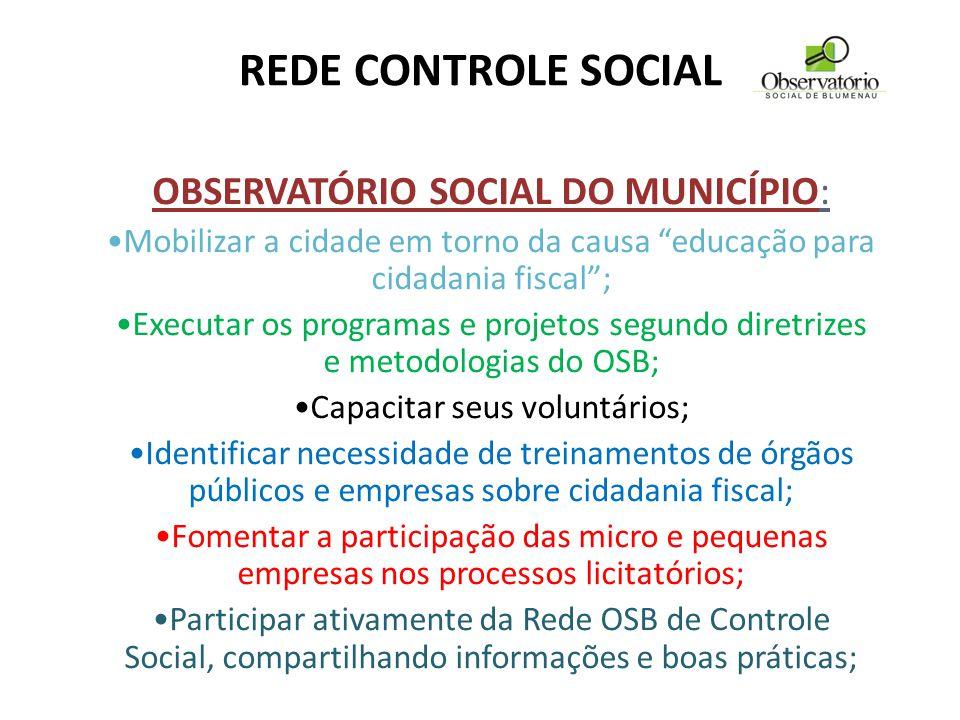 """REDE CONTROLE SOCIAL OBSERVATÓRIO SOCIAL DO MUNICÍPIO: Mobilizar a cidade em torno da causa """"educação para cidadania fiscal""""; Executar os programas e"""