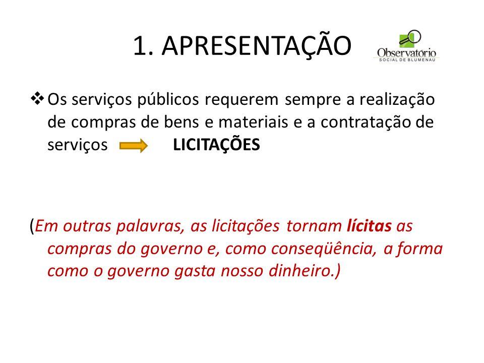 1. APRESENTAÇÃO  Os serviços públicos requerem sempre a realização de compras de bens e materiais e a contratação de serviços LICITAÇÕES (Em outras p