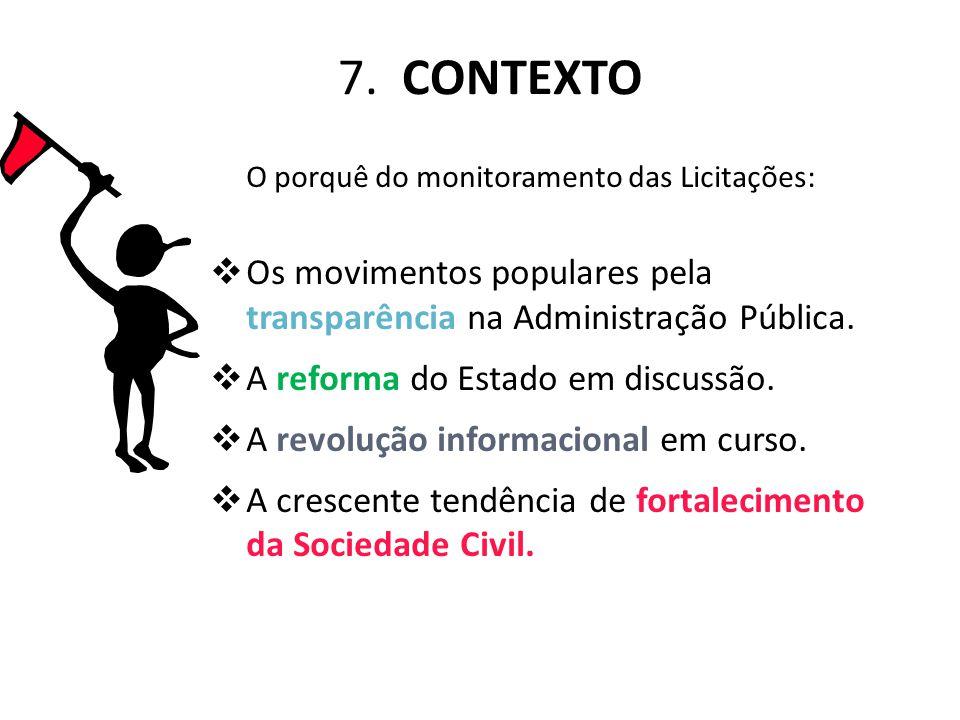 7. CONTEXTO O porquê do monitoramento das Licitações:  Os movimentos populares pela transparência na Administração Pública.  A reforma do Estado em