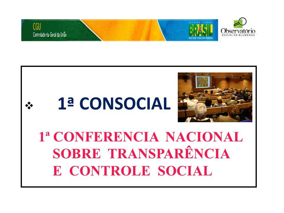  1ª CONSOCIAL 1ª CONFERENCIA NACIONAL SOBRE TRANSPARÊNCIA E CONTROLE SOCIAL