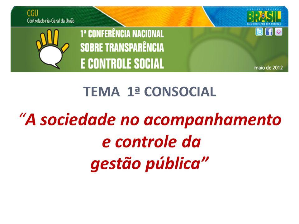 """TEMA 1ª CONSOCIAL """"A sociedade no acompanhamento e controle da gestão pública"""""""