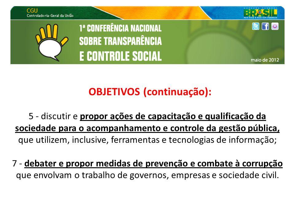 OBJETIVOS (continuação): 5 - discutir e propor ações de capacitação e qualificação da sociedade para o acompanhamento e controle da gestão pública, qu