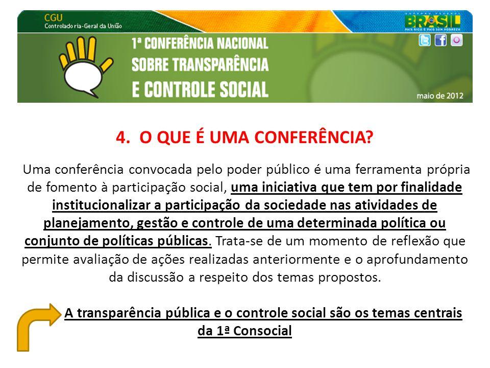 4. O QUE É UMA CONFERÊNCIA? Uma conferência convocada pelo poder público é uma ferramenta própria de fomento à participação social, uma iniciativa que