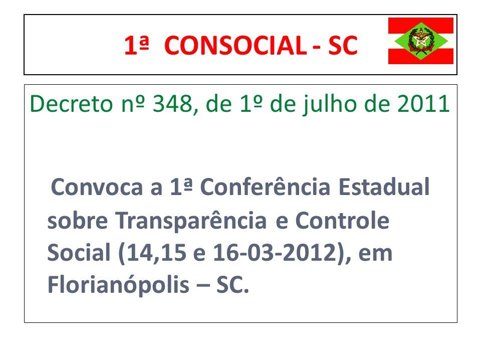 1ª CONSOCIAL - SC Decreto nº 348, de 1º de julho de 2011 Convoca a 1ª Conferência Estadual sobre Transparência e Controle Social (14,15 e 16-03-2012),