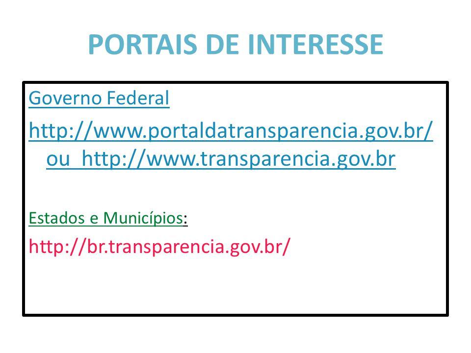 PORTAIS DE INTERESSE Governo Federal http://www.portaldatransparencia.gov.br/ ou http://www.transparencia.gov.br Estados e Municípios: http://br.trans