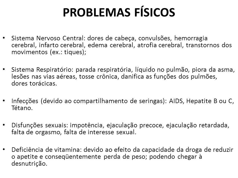 PROBLEMAS FÍSICOS Sistema Nervoso Central: dores de cabeça, convulsões, hemorragia cerebral, infarto cerebral, edema cerebral, atrofia cerebral, trans