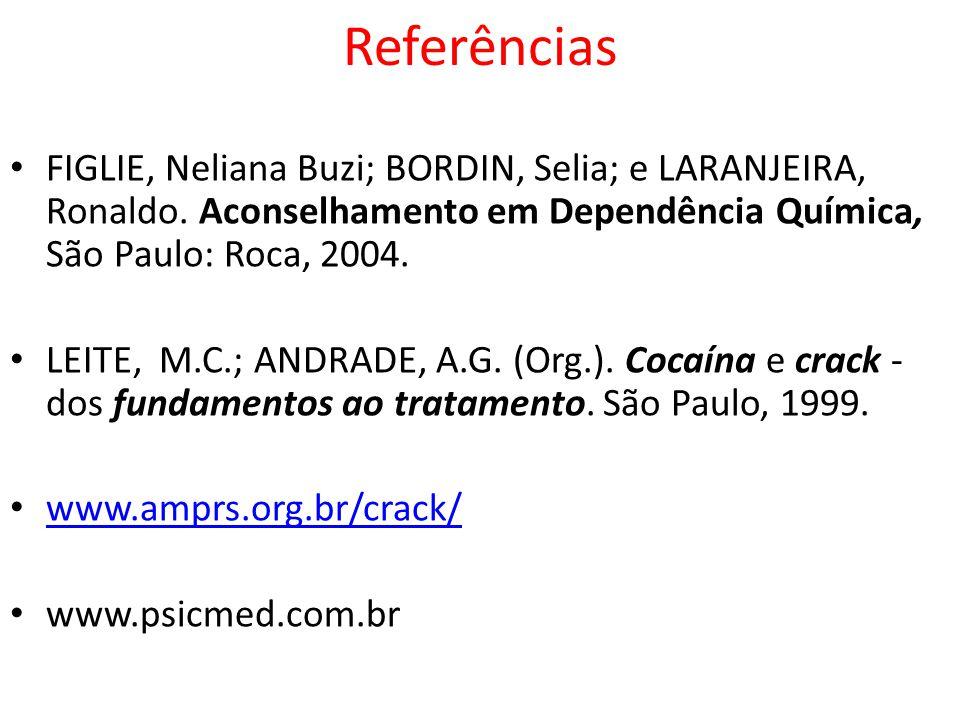 Referências FIGLIE, Neliana Buzi; BORDIN, Selia; e LARANJEIRA, Ronaldo. Aconselhamento em Dependência Química, São Paulo: Roca, 2004. LEITE, M.C.; AND