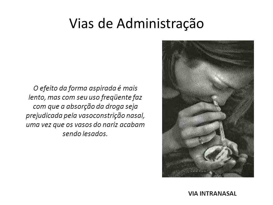 Vias de Administração VIA INTRANASAL O efeito da forma aspirada é mais lento, mas com seu uso freqüente faz com que a absorção da droga seja prejudica