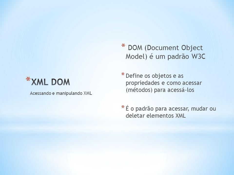 * DOM (Document Object Model) é um padrão W3C * Define os objetos e as propriedades e como acessar (métodos) para acessá-los * É o padrão para acessar, mudar ou deletar elementos XML Acessando e manipulando XML