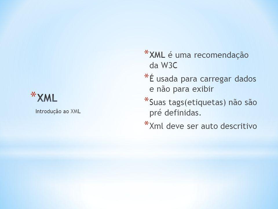 * XML é uma recomendação da W3C * É usada para carregar dados e não para exibir * Suas tags(etiquetas) não são pré definidas.