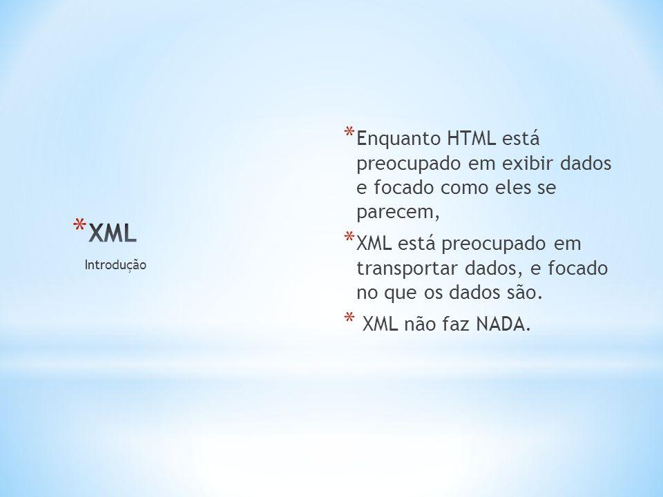 * Enquanto HTML está preocupado em exibir dados e focado como eles se parecem, * XML está preocupado em transportar dados, e focado no que os dados são.