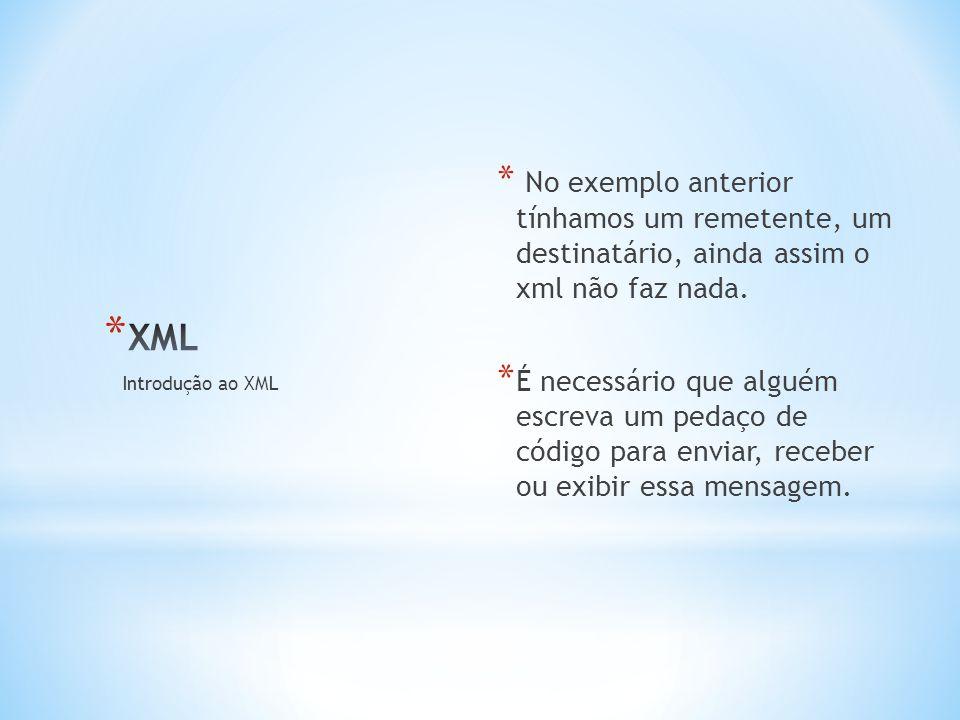 * No exemplo anterior tínhamos um remetente, um destinatário, ainda assim o xml não faz nada.