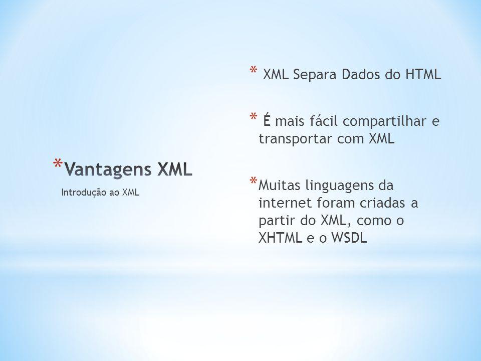 * XML Separa Dados do HTML * É mais fácil compartilhar e transportar com XML * Muitas linguagens da internet foram criadas a partir do XML, como o XHTML e o WSDL Introdução ao XML