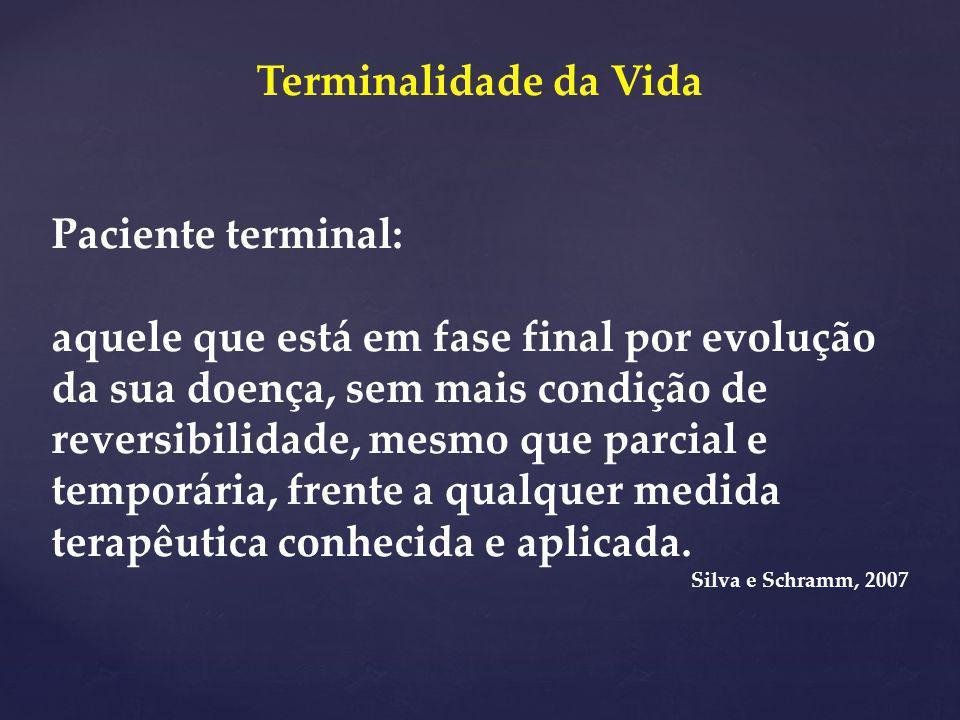 Terminalidade da Vida Paciente terminal: aquele que está em fase final por evolução da sua doença, sem mais condição de reversibilidade, mesmo que par
