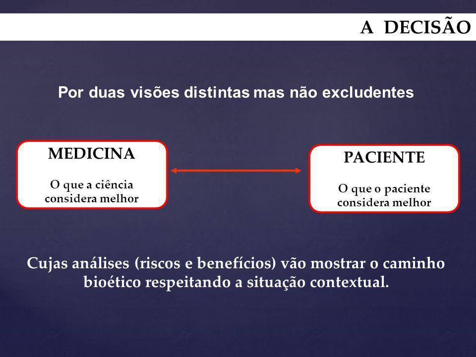 Por duas visões distintas mas não excludentes Cujas análises (riscos e benefícios) vão mostrar o caminho bioético respeitando a situação contextual. M