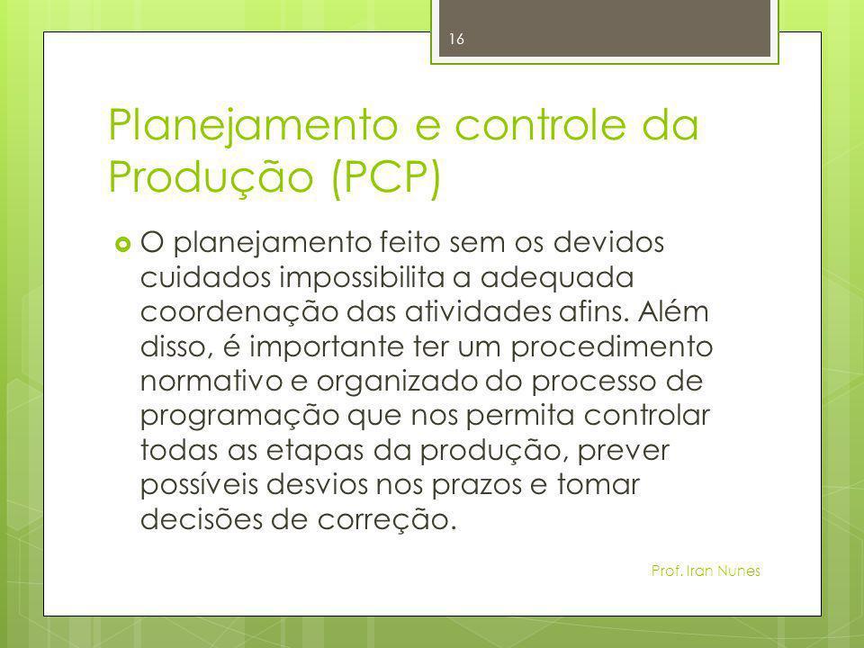 Planejamento e controle da Produção (PCP)  O planejamento feito sem os devidos cuidados impossibilita a adequada coordenação das atividades afins. Al