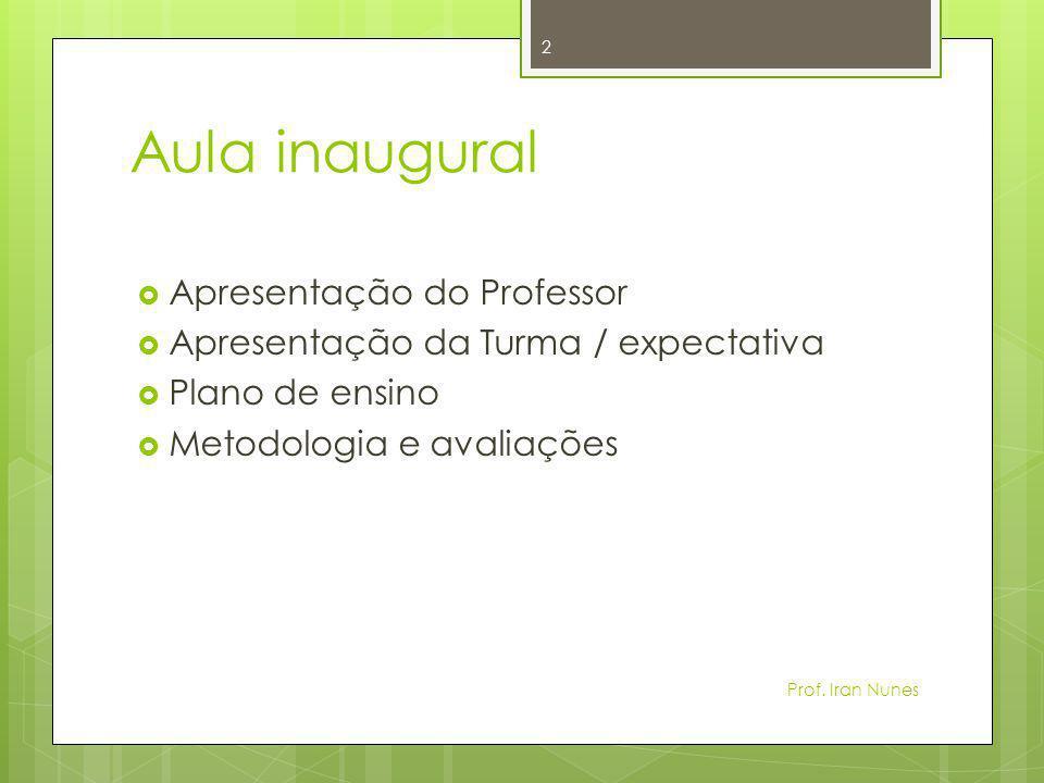 Metodologia  Aulas expositivas  Trabalho em grupo  Testes  Exercícios avaliativos 3 Prof.
