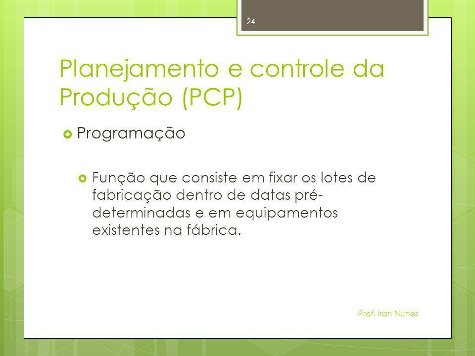 Planejamento e controle da Produção (PCP)  Programação  Função que consiste em fixar os lotes de fabricação dentro de datas pré- determinadas e em e