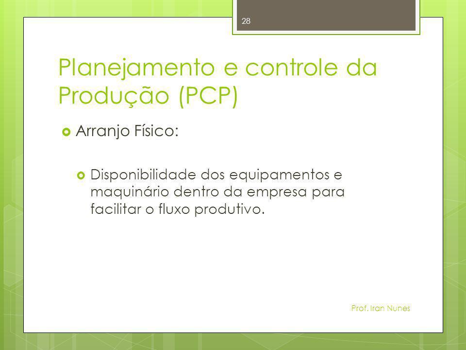 Planejamento e controle da Produção (PCP)  Arranjo Físico:  Disponibilidade dos equipamentos e maquinário dentro da empresa para facilitar o fluxo p