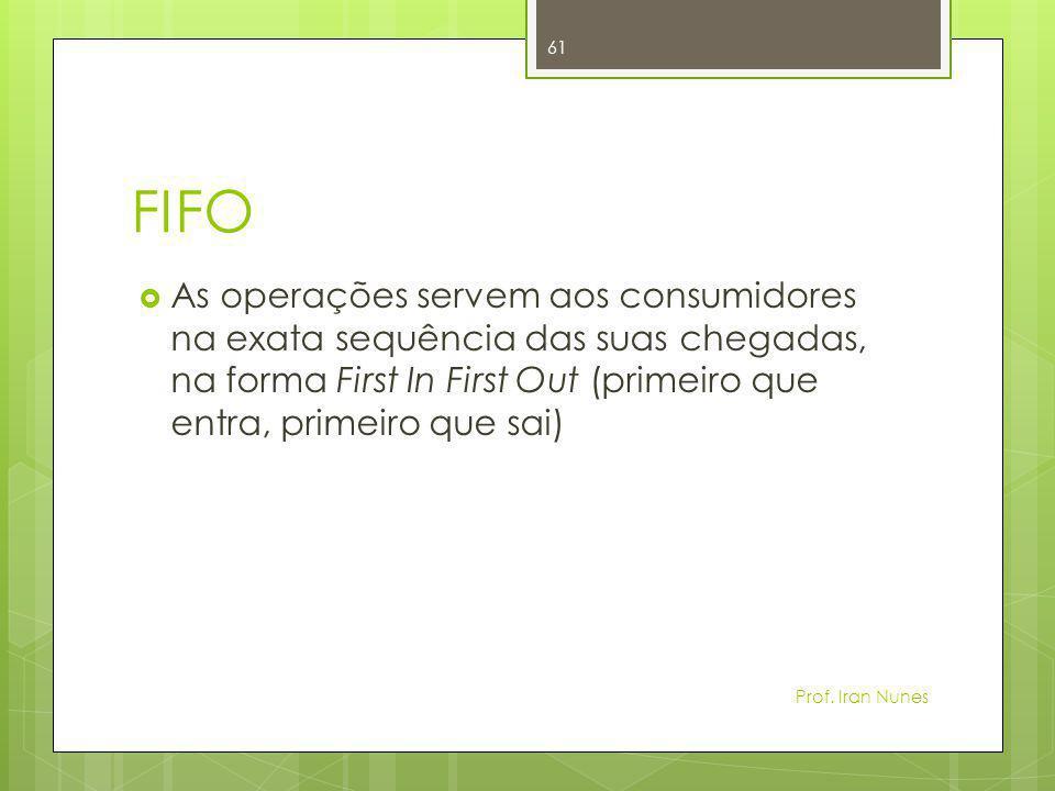 FIFO  As operações servem aos consumidores na exata sequência das suas chegadas, na forma First In First Out (primeiro que entra, primeiro que sai) P