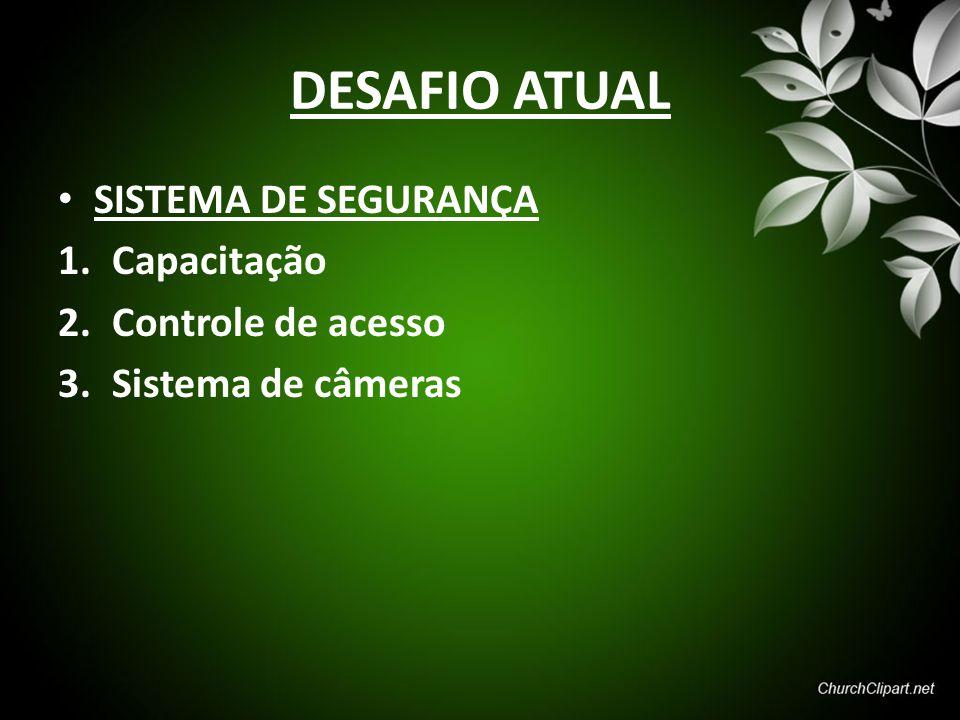 DESAFIO ATUAL SISTEMA DE SEGURANÇA 1.Capacitação 2.Controle de acesso 3.Sistema de câmeras
