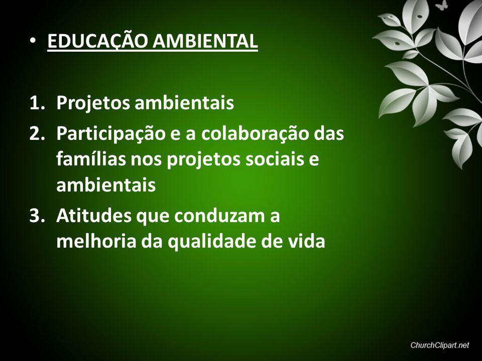 EDUCAÇÃO AMBIENTAL 1.Projetos ambientais 2.Participação e a colaboração das famílias nos projetos sociais e ambientais 3.Atitudes que conduzam a melho