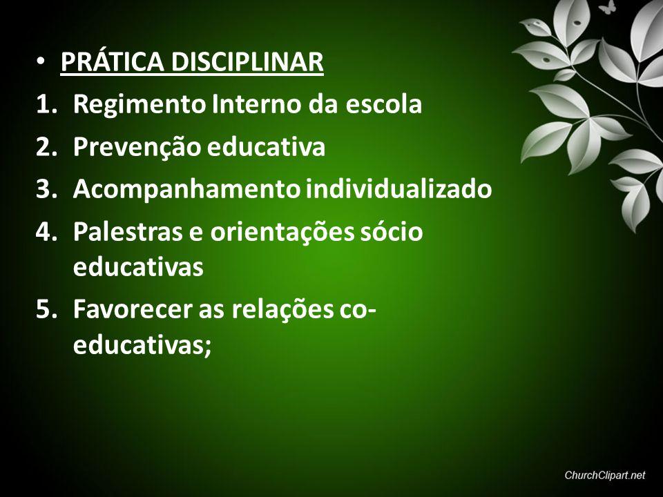 PRÁTICA DISCIPLINAR 1.Regimento Interno da escola 2.Prevenção educativa 3.Acompanhamento individualizado 4.Palestras e orientações sócio educativas 5.