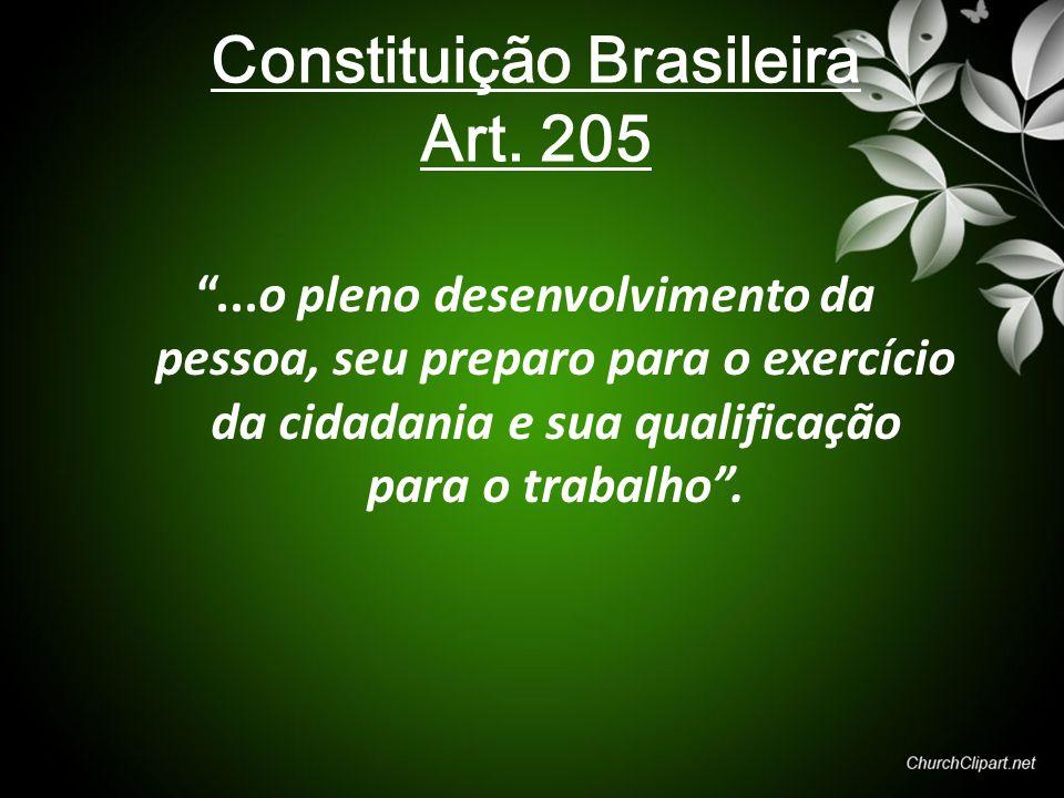 """Constituição Brasileira Art. 205 """"...o pleno desenvolvimento da pessoa, seu preparo para o exercício da cidadania e sua qualificação para o trabalho""""."""