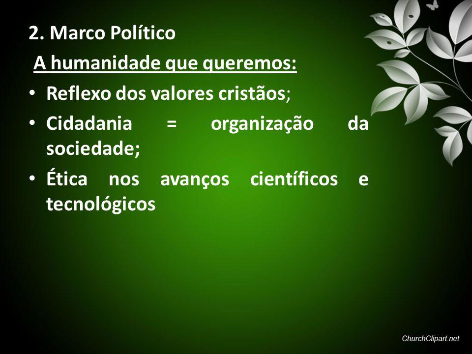 2. Marco Político A humanidade que queremos: Reflexo dos valores cristãos; Cidadania = organização da sociedade; Ética nos avanços científicos e tecno