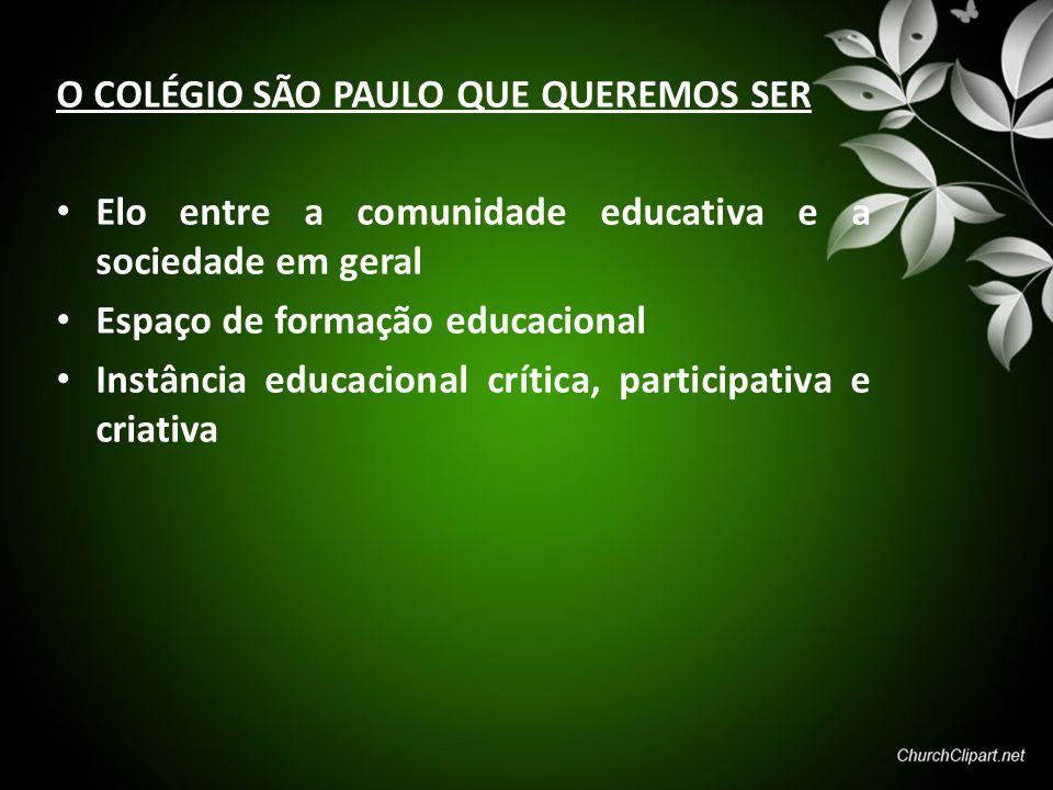 O COLÉGIO SÃO PAULO QUE QUEREMOS SER Elo entre a comunidade educativa e a sociedade em geral Espaço de formação educacional Instância educacional crít