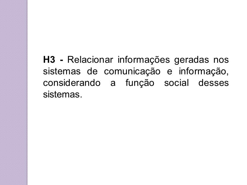 H3 - Relacionar informações geradas nos sistemas de comunicação e informação, considerando a função social desses sistemas.