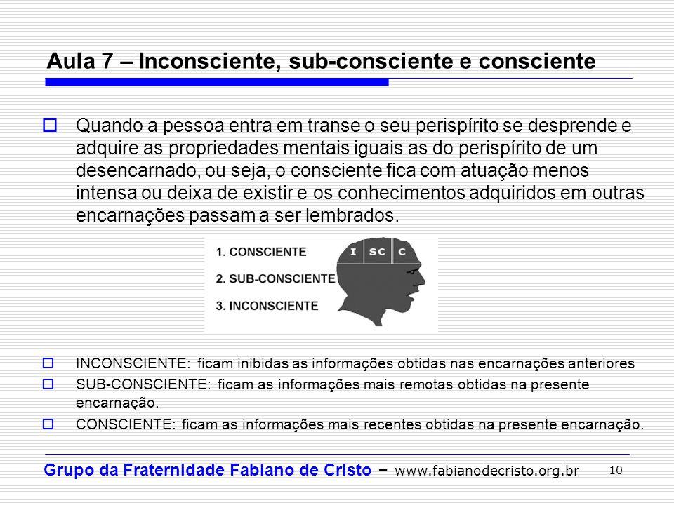 Grupo da Fraternidade Fabiano de Cristo – www.fabianodecristo.org.br 10 Aula 7 – Inconsciente, sub-consciente e consciente  Quando a pessoa entra em