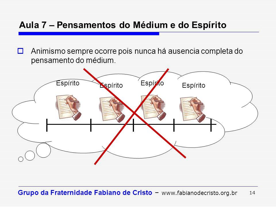 Grupo da Fraternidade Fabiano de Cristo – www.fabianodecristo.org.br 14 Aula 7 – Pensamentos do Médium e do Espírito  Animismo sempre ocorre pois nun