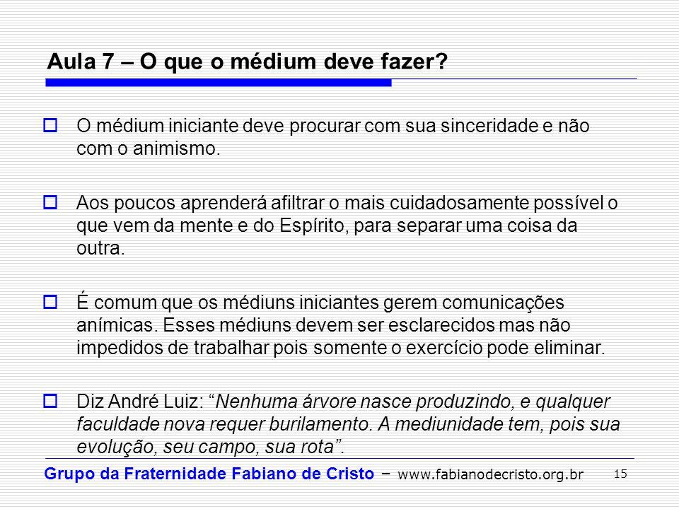 Grupo da Fraternidade Fabiano de Cristo – www.fabianodecristo.org.br 15 Aula 7 – O que o médium deve fazer?  O médium iniciante deve procurar com sua