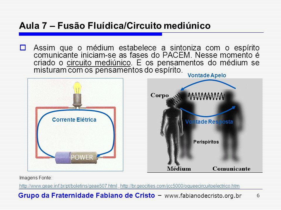 Grupo da Fraternidade Fabiano de Cristo – www.fabianodecristo.org.br 6  Assim que o médium estabelece a sintoniza com o espírito comunicante iniciam-