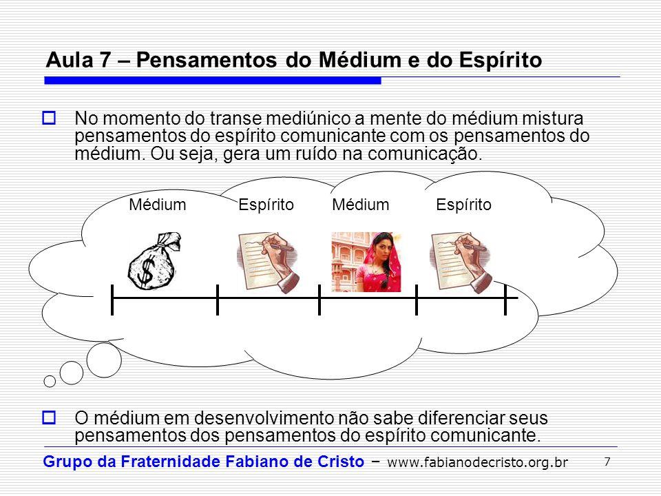 Grupo da Fraternidade Fabiano de Cristo – www.fabianodecristo.org.br 7 Aula 7 – Pensamentos do Médium e do Espírito  No momento do transe mediúnico a