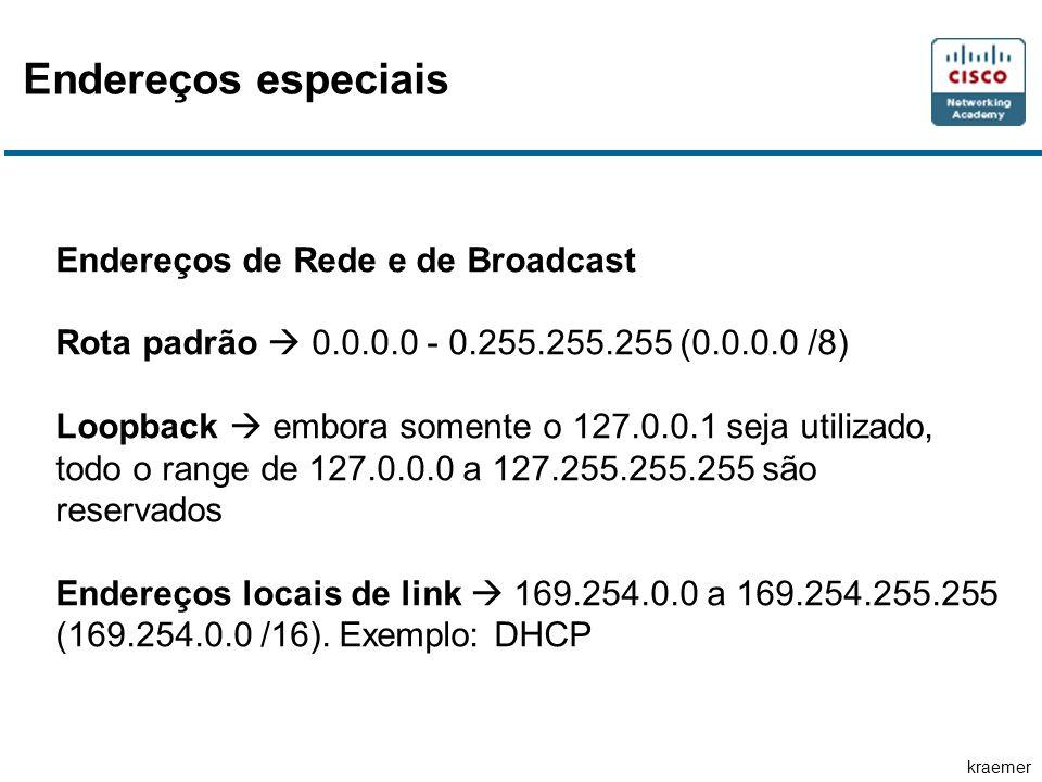 kraemer Endereços especiais Endereços de Rede e de Broadcast Rota padrão  0.0.0.0 - 0.255.255.255 (0.0.0.0 /8) Loopback  embora somente o 127.0.0.1