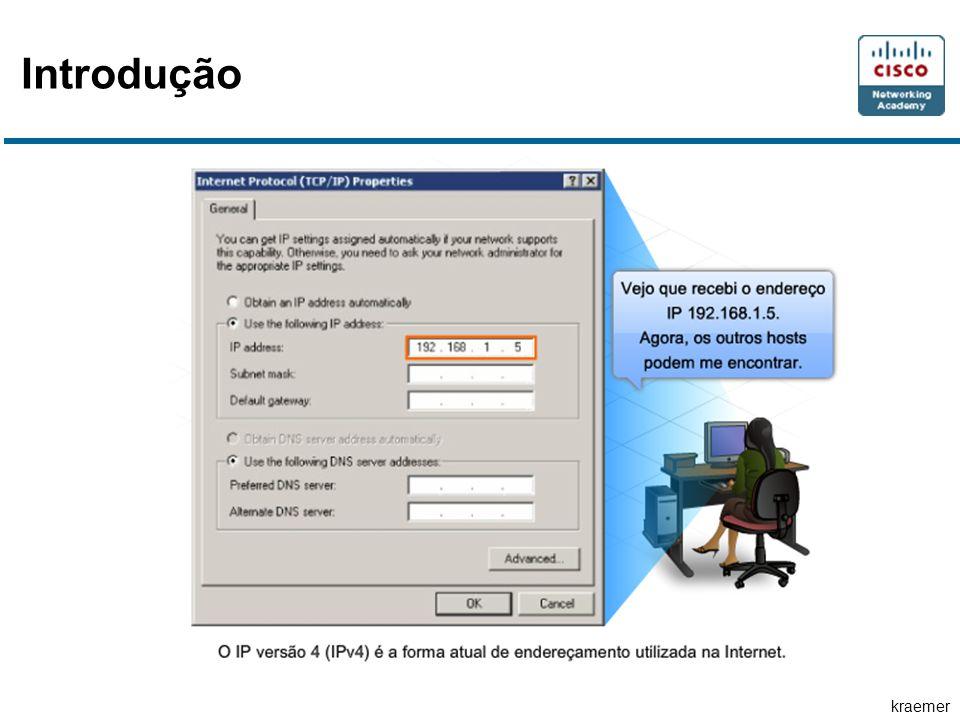 kraemer ICMPv4 As mensagens ICMP que podem ser enviadas incluem: Host confirmation (Confirmação de host) Unreachable Destination or Service (Destino ou Serviço Inalcançável) Time exceeded (Tempo excedido) Route redirection (Redirecionamento de rota) Source quench (Inibição de origem)