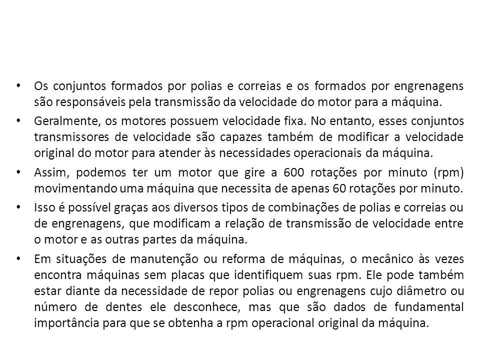 Os conjuntos formados por polias e correias e os formados por engrenagens são responsáveis pela transmissão da velocidade do motor para a máquina. Ger