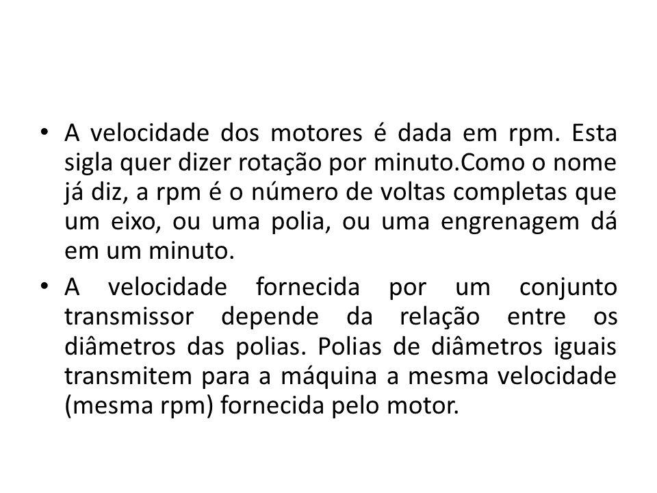 A velocidade dos motores é dada em rpm. Esta sigla quer dizer rotação por minuto.Como o nome já diz, a rpm é o número de voltas completas que um eixo,