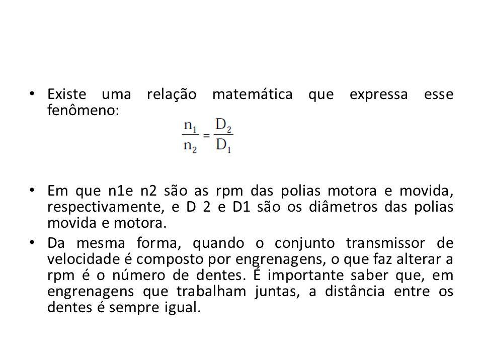 Existe uma relação matemática que expressa esse fenômeno: Em que n1e n2 são as rpm das polias motora e movida, respectivamente, e D 2 e D1 são os diâmetros das polias movida e motora.