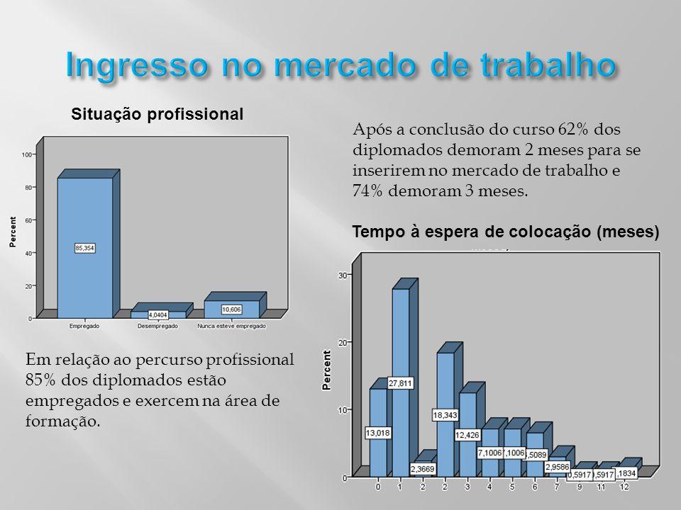 Situação profissional Tempo à espera de colocação (meses) Em relação ao percurso profissional 85% dos diplomados estão empregados e exercem na área de