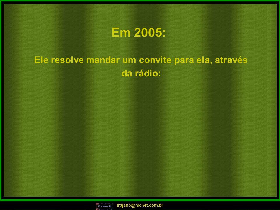 """trajano@nicnet.com.br Em 2004: """"Ah! Que isso? Elas estão descontroladas! Ah! Que isso? Elas Estão descontroladas! Ela sobe, ela desce, ela da uma roda"""