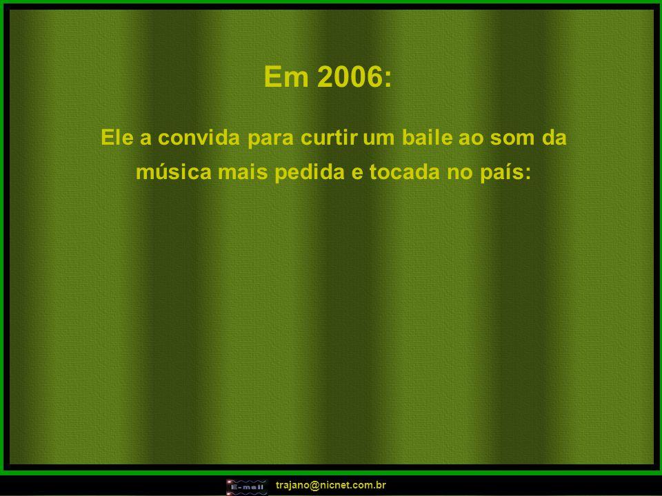 """trajano@nicnet.com.br Em 2005: """"Hoje é festa lá no meu apê, pode aparecer, vai rolar bunda lele!!! Hoje é festa lá no meu apê, tem birita até ao amanh"""