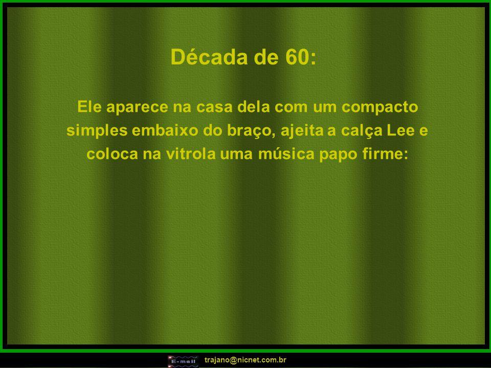 trajano@nicnet.com.br Em 2001: Ele captura na internet um batidão legal e manda pra ela, por e-mail: