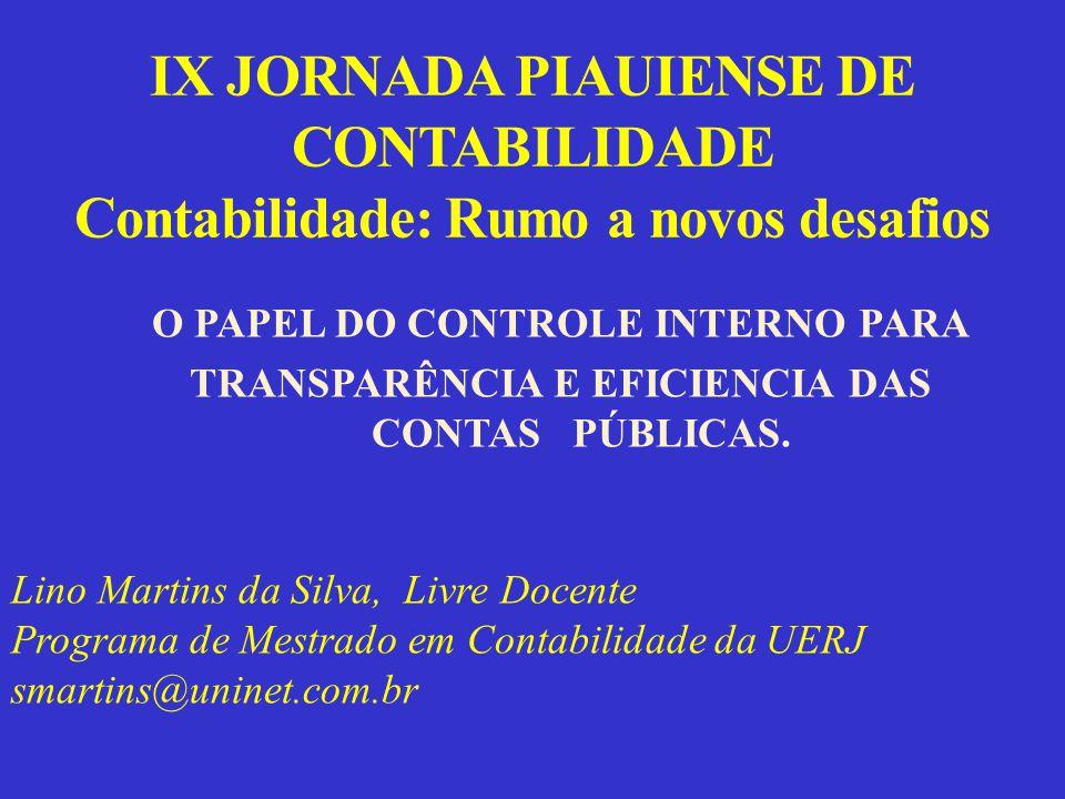 IX JORNADA PIAUIENSE DE CONTABILIDADE Contabilidade: Rumo a novos desafios O PAPEL DO CONTROLE INTERNO PARA TRANSPARÊNCIA E EFICIENCIA DAS CONTAS PÚBLICAS.