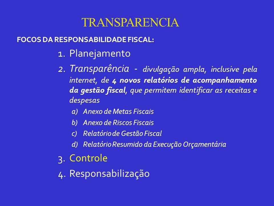 TRANSPARENCIA FOCOS DA RESPONSABILIDADE FISCAL: 1.Planejamento 2.Transparência - divulgação ampla, inclusive pela internet, de 4 novos relatórios de acompanhamento da gestão fiscal, que permitem identificar as receitas e despesas a)Anexo de Metas Fiscais b)Anexo de Riscos Fiscais c)Relatório de Gestão Fiscal d)Relatório Resumido da Execução Orçamentária 3.Controle 4.Responsabilização